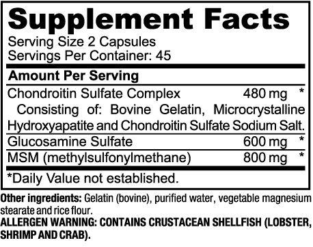 Glucosamine Chondroitin ingredients