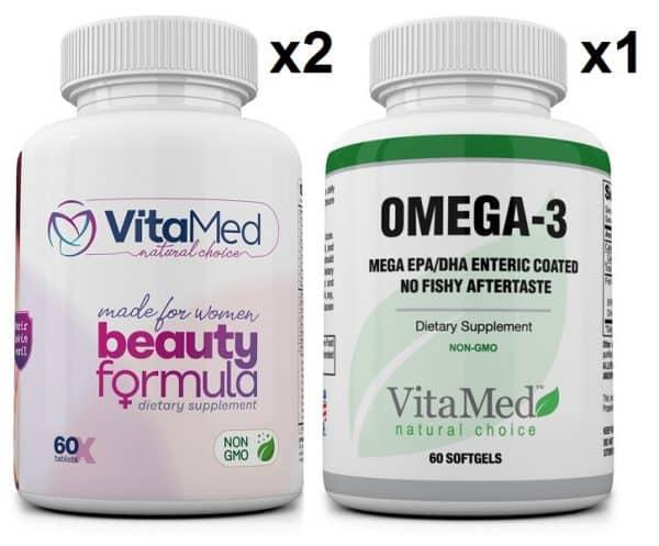2 bottles Beauty & 1 bottle Mega Omega-3