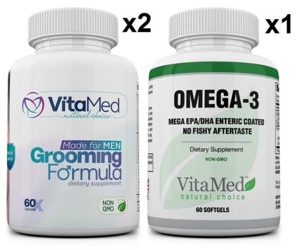 2 bottles Grooming & 1 bottle Mega Omega-3