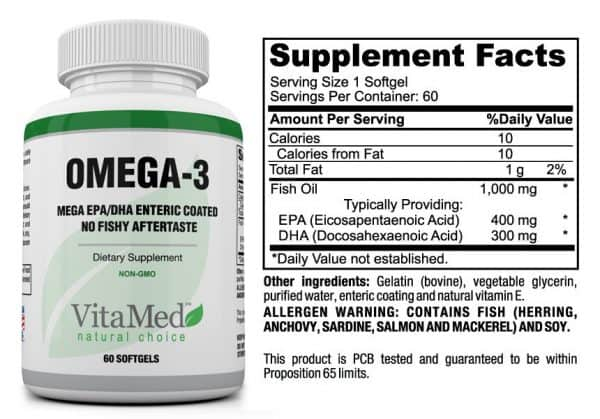 Omega-3 Bottle & Supplement Facts table